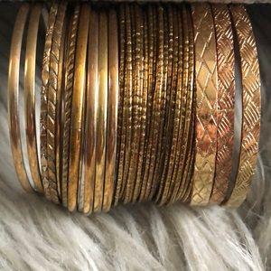 Set of 42 Mix & Match Gold Tone Textured Bangles